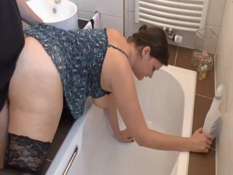 fucked while cleaning amateur